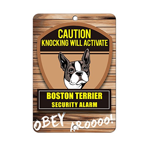 - NewFDeals Knocking will activate BOSTON TERRIER DOG Metal Plate Gift Sign - 8 x 12 inchesfor Home/Man Cave Decor