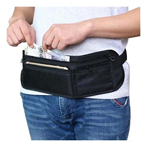 Waist Travel Belt Money Passport Wallet Pouch Ticket Bum Bag Black - 8