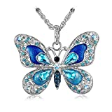 """Crystal Butterfly Pendant Necklace 18 Inch """"Belongs to Your Beauty"""" Perfect Gift for Women"""