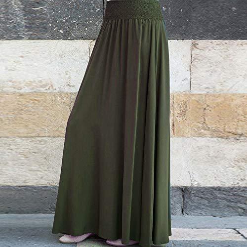 Verde militare Moda Jutoo a Vita xxl Gonne Gonna m Lungo s linea vintage una allentato pieghe l lunghe Donna solido Sciolto xl W1qnprRxW