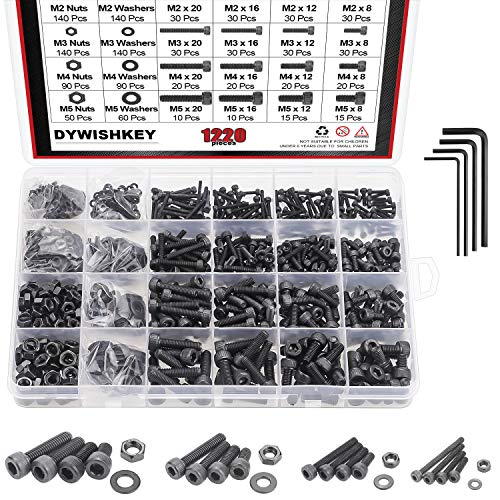 DYWISHKEY 1220 PCS M2 M3 M4 M5, Alloy Steel Hex Socket Head Cap Bolts Screws Nuts Washers Assortment Kit with Hex Wrenches