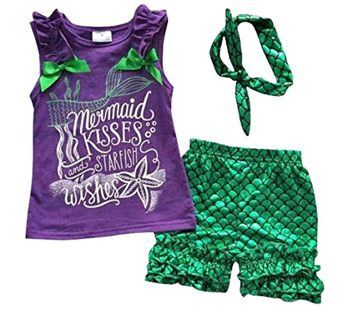 Kiss Outfits (Kids Girls Summer Ruffle Shirts Sequin Mermaid Short Pant Outfits with Headband)
