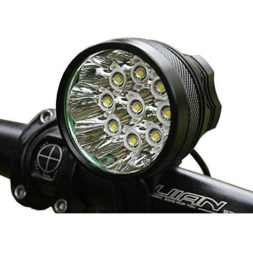 MAIKEHIGH LED Fahrradbeleuchtung / Stirnlampe mit 9 LEDs, 12000 Lumen, Schnellbefestigung / Stirnband und Lithium-Ionen-Akku