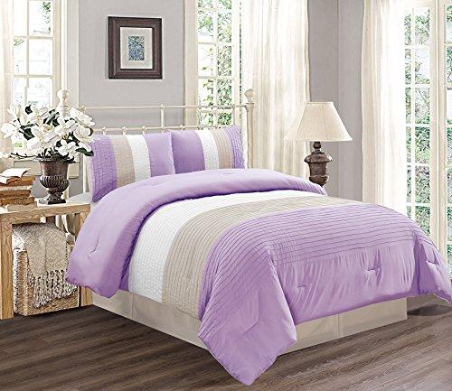 Grand Linen 4 Piece Queen Size Lilac Purple/White / Grey Pin Tuck Stripe Regatta Goose Down Alternative Comforter Set 90
