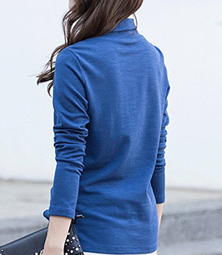 Printemps T Polos Revers Manches Chemisiers Pullover Blouse Pulls Hauts Tops Casual Femmes Fashion Longues Unie Sweat Jumpers Shirts Automne Bleu Shirt Couleur et r8f6Hqr