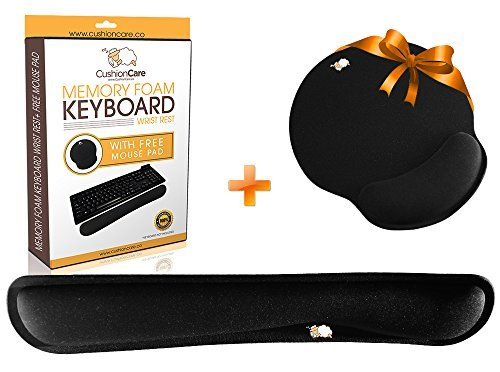 CushionCare Keyboard Wrist Rest Pad - Mouse Pad Included - Ergonomic Support - Made of Foam That Is Built to Last- Provides Comfort and Support to (Genius Ergonomic Mouse)