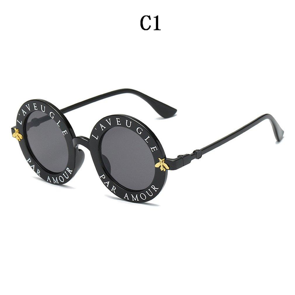 c0e55b713a30e Amazon.com  NNVMM Retro Round Sunglasses English Letters Little Bee Sun  Glasses For Men Women C1  Sports   Outdoors
