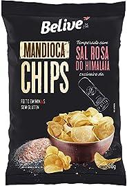 Mandioca Chips Belive temperado com Sal Rosa do Himalaia BR Spices - 50g