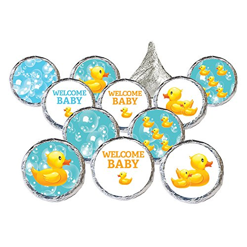 DISTINCTIVS Rubber Ducky Bubble Bath Baby Shower Favor Stickers (Set of 324) ()