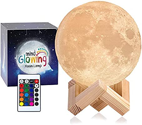 3d Moon Lamp Rechargeable Night Light 16 Led Colors Dimmable Standard 4 7in With Wooden Stand Remote Touch Control Nursery Decor For Your Baby Birthday Gift Idea For Women Amazon Ca Baby