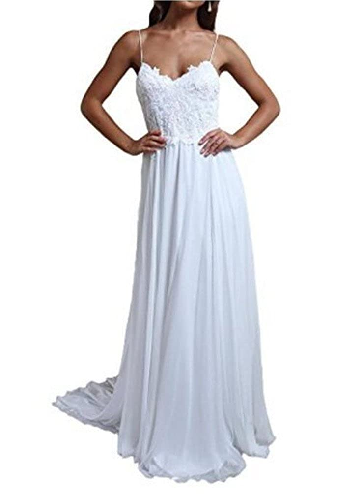 Formaldresses Spaghetti Straps Beach Lace Wedding Dress Plus Size Boho Bridal Gown Open Back at Amazon Womens Clothing store:
