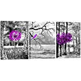 Purple landscape Trees Art 3FAS406 Canvas Prints Framed Canvas Wall Art for Home Decor Perfect 3 Panels Wall Decorations for Living Room Bedroom Office Each Panel size:12x16inches 3pcs/set