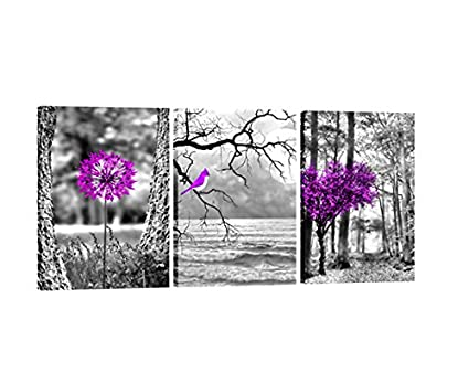 Amazon.com: Purple landscape Trees Art 3FAS406 Canvas Prints Framed ...