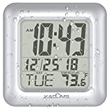 KADAMS Digital Bathroom Shower Wall Clock, Waterproof for Water Spray, Temperature, Seconds Counter, Humidity & Moisture Proof, Water Resistant, Month Date Day, Suction Cups, Hole, Stand Frame Silver