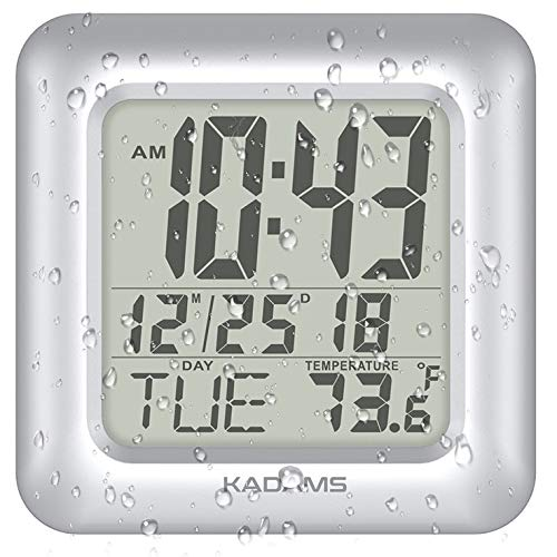 (KADAMS Digital Bathroom Shower Wall Clock, Waterproof for Water Spray, Temperature Thermometer, Seconds Counter, Humidity & Moisture Proof, Month Date Day, Suction Cup Clock Table Stand Clock - SILVER)