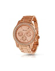 Bling Jewelry Geneva Rose Gold Plated Classic Round CZ Ladies Boyfriend Watch