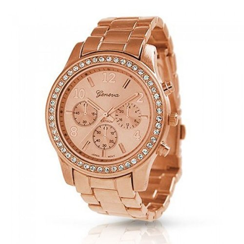 Bling Jewelry Plated Classic Round CZ Ladies Watch