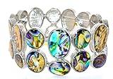 "Genuine Abalone Shell Stretchable Bracelet-Wrist Size 6""-9"""