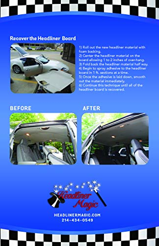 Black Auto Headliner for Jeep Cherokee 3/16'' Foam Backing Fabric Material 120'' X 60'' by Headliner Magic (Image #4)