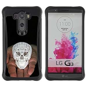 Be-Star único patrón Impacto Shock - Absorción y Anti-Arañazos Funda Carcasa Case Bumper Para LG G3 / D855 / D850 / D851 ( 3D Printed Skull White Love God Black )