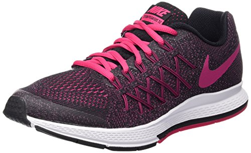 Nike Zoom Pegasus 32 (Gs), Zapatillas de Running para Niñas Negro (Black / Vivid Pink-White)