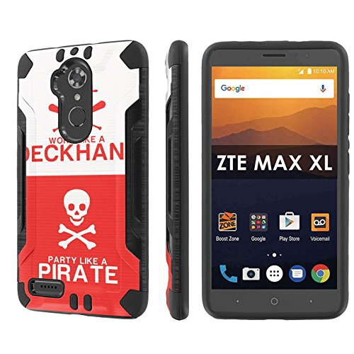 ZTE [Max XL] [Blade Max 3 Z986] [Max Blue] [NakedShield] [Black/Black] Dual Layer Protection - [Pirate Deckhand] for ZTE [Max XL] [Blade Max 3 Z986] [Max Blue] [6