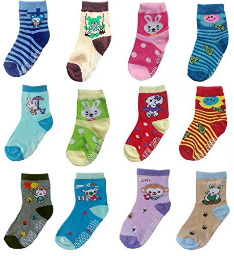 Deluxe Non Skid,Anti Slip,Slipper Ankle Socks For Baby,Toddler,Kids,Little,Boys,Girls (3-5 years, 12 pack/assorted)
