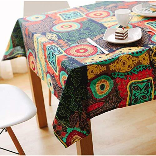 Bringsine Washable Rectangular Cotton Linen Colorful Flower Print Tablecloth, Vintage Dinner Picnic Table Cloth Home Decoration (Rectangle/Oblong, 55 x 87 Inch) (Flower Tablecloth Print)