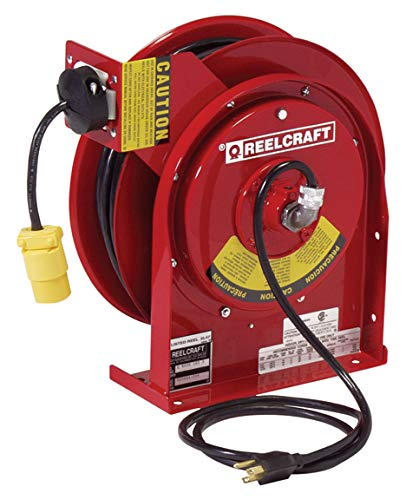 Reelcraft L 4035 163 3 Heavy Duty Power Cord Reel, 16 AWG/3 Conductors x 35', 13 AMP, Single Outlet, Cord Included