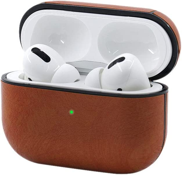 Brown Front LED Visible Airpods Pro Case Keychain,Leather Charging Protective Case Cover for AirPod Pro 3 2019 Newest Generation Earphones Accessories