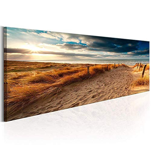 Canvas Wall Art Beach Sunset footprints Ocean Waves Nature Pictures Long Canvas Artwork Prints Contemporary Wall Decor for Home Living Room Bedroom Decoration Office Wall Decor Framed Ready to Hang