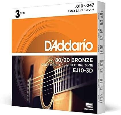 DAddario EJ10-3D 80/20 Cuerdas para guitarra acústica de bronce ...