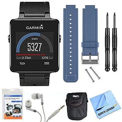 vivoactive GPS Smartwatch - Black (010-01297-00) Blue Replacement Band Bundle includes Black vivoactive GPS Smartwatch, Blue Replacement Band, Screen Protectors, Headphones, Carrying Case and Micro Fiber Cloth