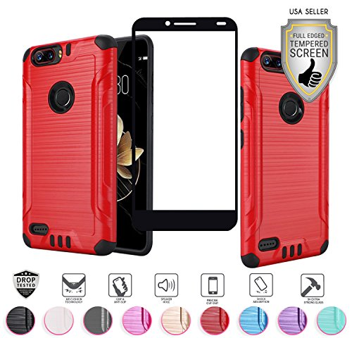 ZTE Blade Z MAX Case (MetroPCS Version Only Z982), with Full Edged Tempered Glass Screen Protector, Heavy Duty Metallic Brushed Slim Hybrid Shock Proof Armor Defender Case (Red)