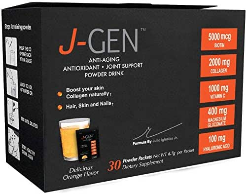 J-GEN Hyaluronic acid - Collagen Powder Drink Mix - Ultimate Anti aging Hyaluronic Acid Formula with Biotin & Vitamin C 1000mg - Antioxidant that supports Hair, Skin, Nails and Joints - 30 Sachets