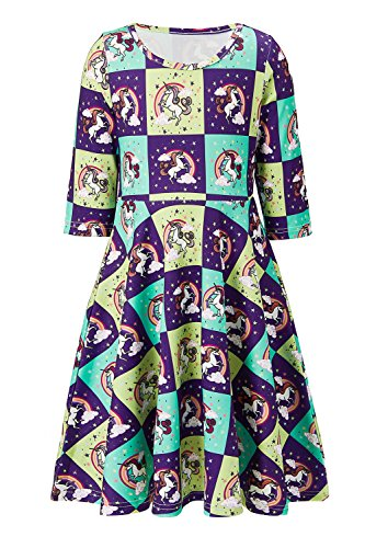 Funnycokid Toddler Dresses Summer 3/4 Length Sleeve Lolita Lovely Printed Daily Midi (Sleeves Lolita Dress)