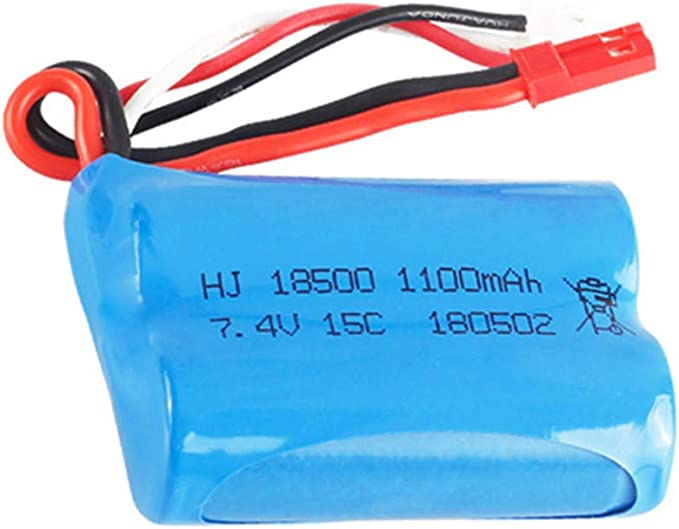Amazon Com 7 4v 1100mah Li Ion Battery Jst Plug For Hq 827 823 871 Mjx T10 T11 T34 Rc Ft007 Rc Boat Spare Parts Accessories 2 Pack With Usb Charger Electronics