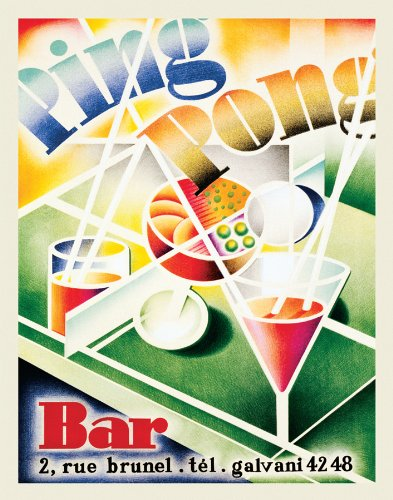 Ping Pong Bar Glasses Vintage Advertising Ad Art Drinking Alcohol Postcard Poster Print 11x14