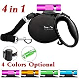 Happy & Polly Retractable Dog Leash Retractable Dog Leash Retractable with Detachable Flashlight/Bungee Dog Leash/Poop Bag Holder for Medium Small Dogs (Rose)