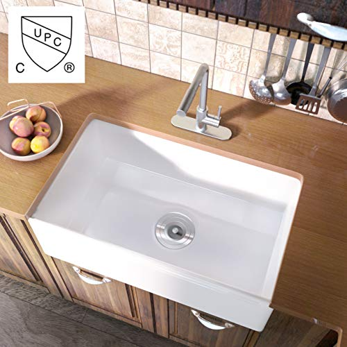 KES cUPC Fireclay Sink Farmhouse Kitchen Porcelain Sink (30 Inch Porcelain Undermount Rectangular White),KPS100A