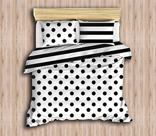 DecoMood Polka Dot Bedding Set, Special Design Black White Stripped Bedding, Full/Queen Size Duvet Cover Set, Reversible, (4 PCS)