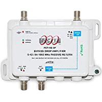 PCT 2-Port Passive Return Cable TV Splitter Signal Booster/Amplifier With VoIP Telephone Bypass Feature