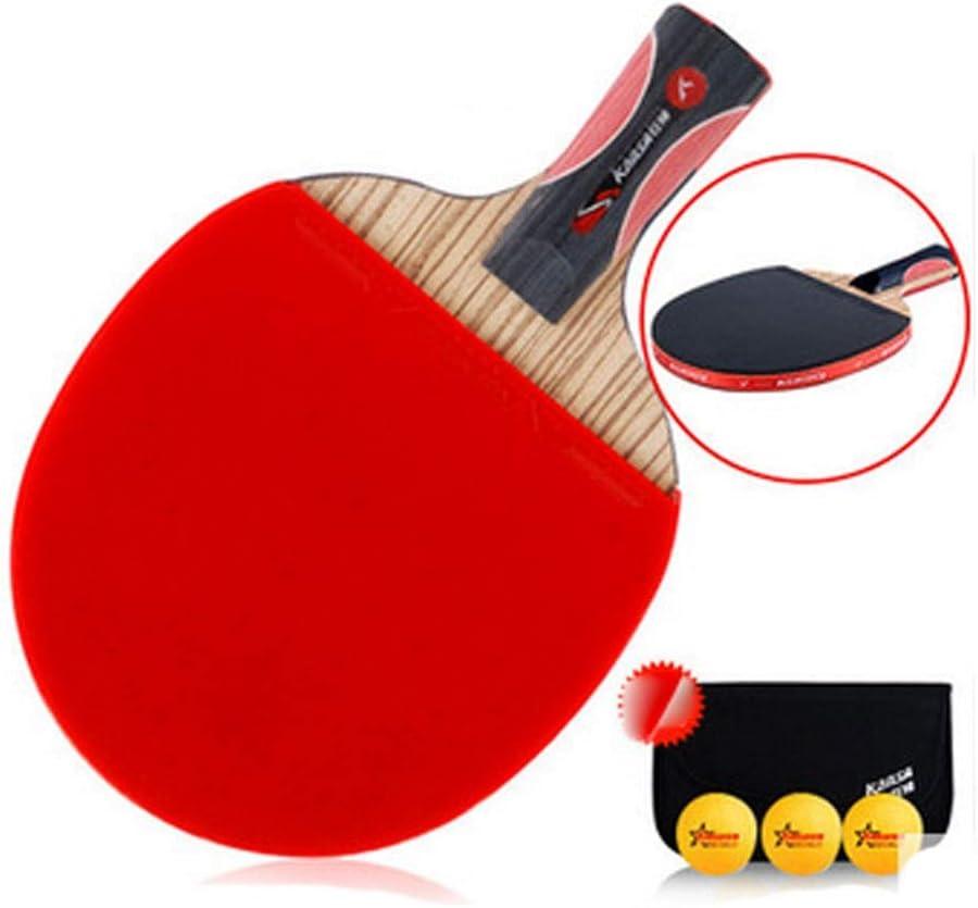 GUYUEXUAN Raqueta de Tenis de Mesa, Adecuada para Deportes al Aire Libre y Raquetas de Fitness, Raqueta de Tenis de Mesa de Carbono, Individual (3 Bolas + Chaqueta)