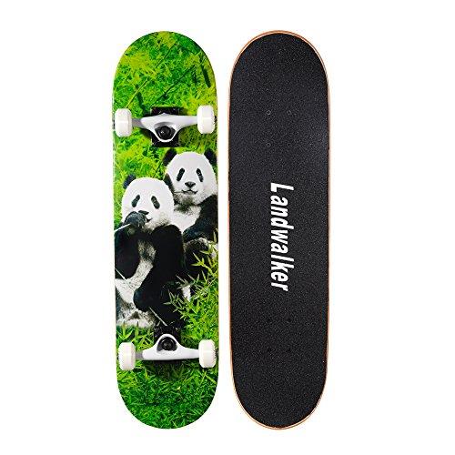 Landwalker Pro Cruiser Complete Girl Skateboard 31x8 Inch Skateboards cheap skateboard (Panda) (Best Type Of Skateboard For Beginners)