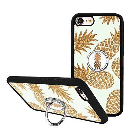 iPhone 7 Case, Golden Pineapple iPhone 8 Case with Phone Grip Kickstand, Finger Ring Holder TPU Bumper Silicone Protective Case Cover for iPhone 7/8 4.7 inch