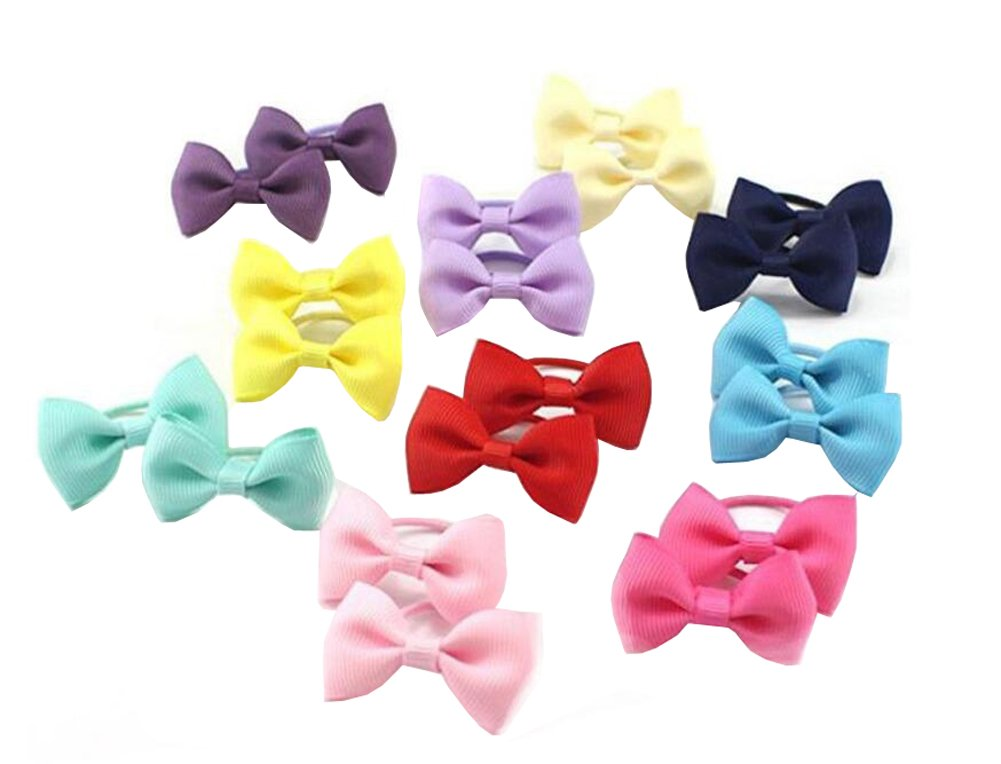 12pcs Random Color Elastic Kids Baby Bowknot Hair Ties Ponytail Holder Hair Band Head Bands Rope Toddler Head Wear Rubber Girls Accessory ASTRQLE