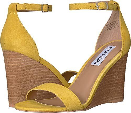 Steve Madden Women's Mary Wedge Sandal Yellow Suede 7.5 M US