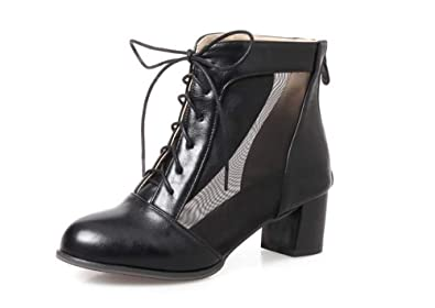 ad1f8c17c15e Womens Lace Up Clear Chunky High Heel Ankle Booties Boot Shoe(Black-36