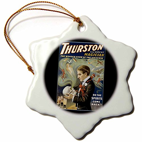 3dRose Vintage Thurston Wonder Show of the Universe Magician Poster - Snowflake Ornament, Porcelain, 3-inch (orn_114172_1) (Thurston Hanging)