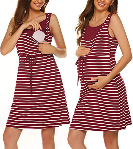 Ekouaer Mom Delivery Gown Women's Maternity Night Gown Scoop Neck Nursing Dresses Breastfeeding(Wire Red,X-Large) ()